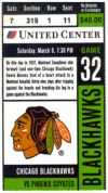 1997 NHL Coyotes at Blackhawks ticket stub