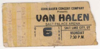 1980 Van Halen Salt Lake City stub