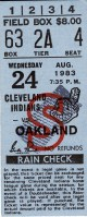 Oakland A's at Cleveland Indians – August 24, 1983