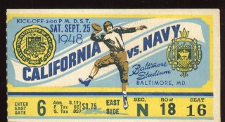 1948 NCAAF California at Navy ticket stub