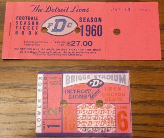 1960 Bears at Lions ticket stub
