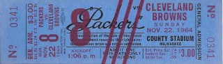 1964 Browns at Packers County Stadium Milwaukee ticket stub American Ticket