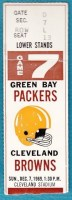 1969 Packers at Browns ticket stub