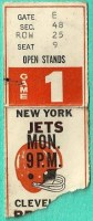 1970 Jets at Browns 1st MNF game ticket stub