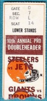 1971 NFL Doubleheader: Steelers vs Jets and Giants at Browns ticket stub