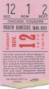 1974 WHA San Diego Mariners at Chicago Cougars