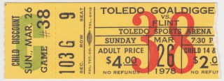 1977 IHL Flint Generals at Toledo Goaldiggers ticket stub