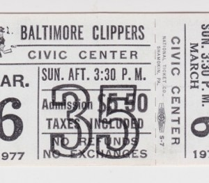 1977 SHL Baltimore Clippers ticket stub for sale