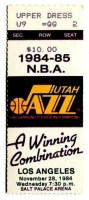 1984 Utah Jazz ticket stub vs Los Angeles Lakers
