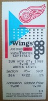 1988 Capitals at Red Wings ticket stub