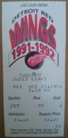 1991 Maple Leafs at Red Wings ticket stub