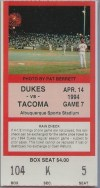 1994 Albuquerque Dukes ticket stub vs Tacoma