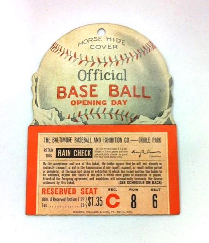 1940 Baltimore Orioles Opening Day ticket stub