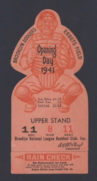 1941 Giants at Dodgers Dodgers Opening Day die cut 400