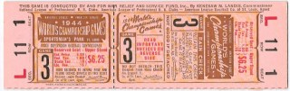 1944 World Series Gm 3 St. Louis Browns at St. Louis Cardinals ticket stub 1300