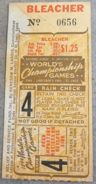 1944 World Series Gm 4 St. Louis Browns at St. Louis Cardinals 80 ticket stub