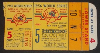 1956 World Series Gm 5 Dodgers at Yankees Don Larson perfect game ticket stub 389