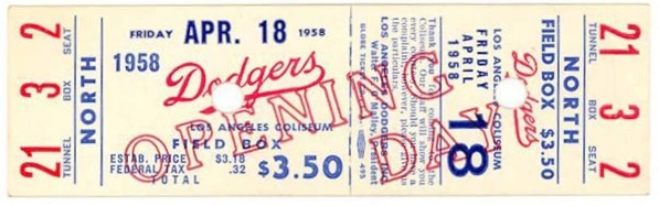 1958 Giants at Dodgers Opening Day