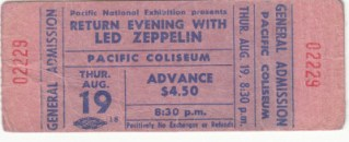 1971 Led Zeppelin Vancouver ticket stub 200