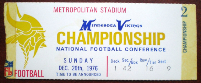 1976 NFC Championship Rams at Vikings ticket stub