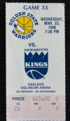 1988 NBA Sacramento Kings at Golden State Warriors ticket stub