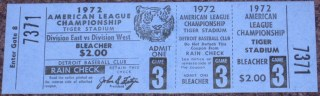 1972 ALCS Gm 3 A's at Tigers full ticket 20