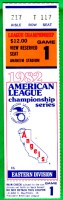 1982 MLB ALCS Game 1 Brewers at Angels ticket stub