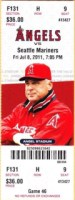 Mike Trout debut ticket stub, 2011 Mariners at Angels