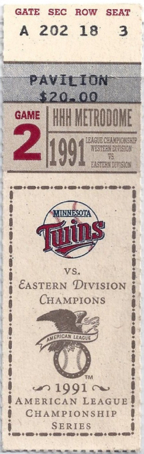 1991 MLB ALCS Game 2 Blue Jays at Twins ticket stub