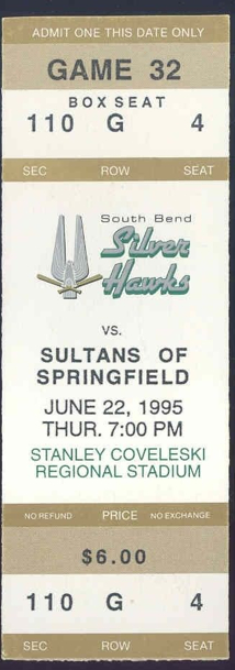 1995 MiLB Midwest League Springfield Sultans at South Bend Silver Hawks ticket stub