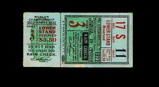 1922 World Series Game 3 Ticket Stub Yankees at Giants