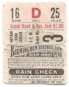 1931 Dixie Series Birmingham Barons Ticket Stub vs Houston