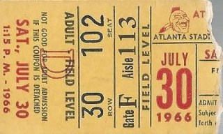 1966 MLB Giants at Braves Willie Mays HR ticket stub 10