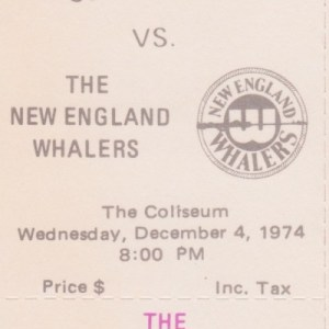 1974 WHA Cleveland Crusaders full ticket vs New England
