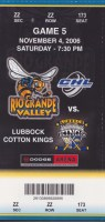 2006 CHL Rio Grande Valley Killer Bees ticket stub vs Lubbock