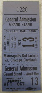 1929 Minneapolis Red Jackets ticket stub vs Chicago Cardinals