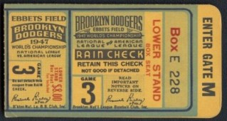 1947 World Series Game 3 Yankees at Dodgers Ticket Stub 150