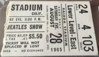 1965 Beatles San Diego Balboa Stadium ticket stub 338