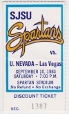1983 NCAAF San Jose State ticket stub vs UNLV