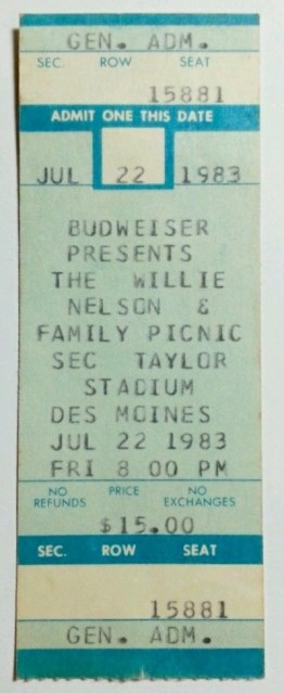 1983 Willie Nelson ticket stub SEC Taylor Stadium Des Moines 10