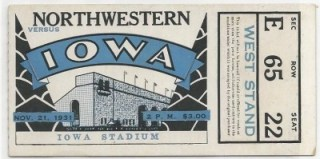 1931 NCAAF Northwestern at Iowa ticket stub 79 copy
