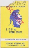 1982 NCAAF San Jose State ticket stub vs Utah State
