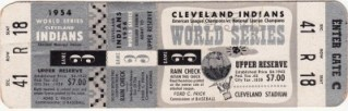 1954 World Series Gm 3 Giants at Indians ticket stub 129