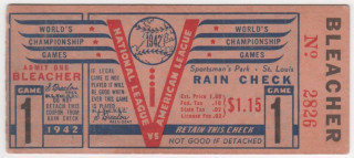 1942 World Series Game 1 Ticket Stub Yankees at Cardinals
