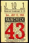 1953 Springfield Cubs ticket stub
