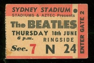 1964 Beatles ticket stub Sydney Australia 375
