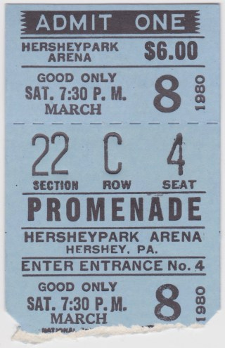 1980 AHL Hershay Bears ticket stub