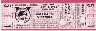 1983 WHL Seattle Thunderbirds at Victoria Cougars ticket stub