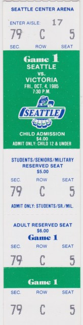 1985 Seattle Thunderbirds ticket stub vs Victoria