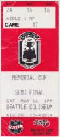 1992 WHL Memorial Cup ticket stub Kamloops vs Seattle